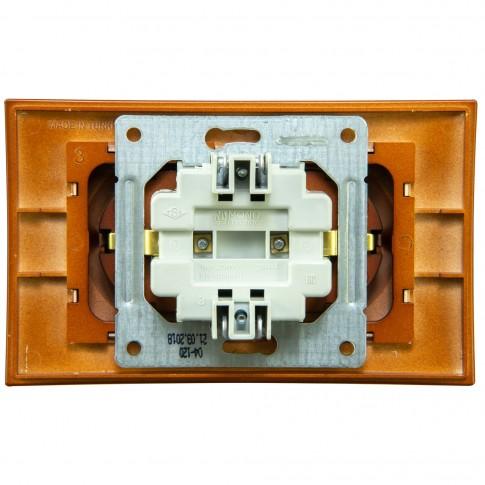 Priza dubla Mono Electric Larissa, incastrata, contact de protectie, rama inclusa, cires