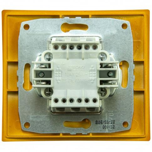 Intrerupator simplu, Mono Electric Larissa, incastrat, rama inclusa, stejar
