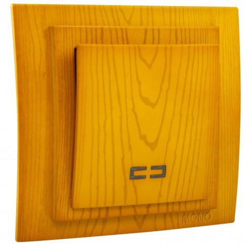 Intrerupator simplu, cu indicator luminos, Mono Electric Larissa, incastrat, rama inclusa, stejar