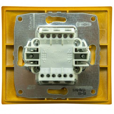 Intrerupator dublu, cu indicator luminos, Mono Electric Larissa, incastrat, rama inclusa, stejar