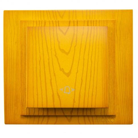 Intrerupator cu revenire si simbol sonerie, Mono Electric Larissa, incastrat, rama inclusa, stejar
