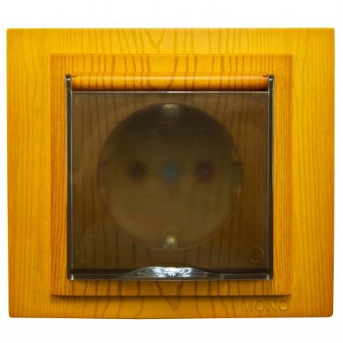 Priza simpla Mono Electric Larissa, incastrata, cu capac, contact de protectie, protectie copii, rama inclusa, stejar