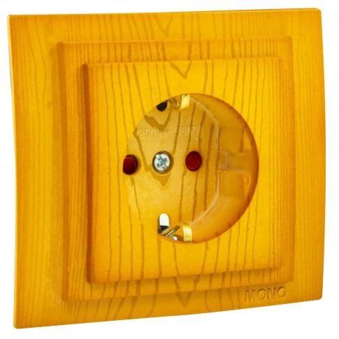 Priza simpla Mono Electric Larissa, incastrata, contact de protectie, protectie copii, rama inclusa, stejar