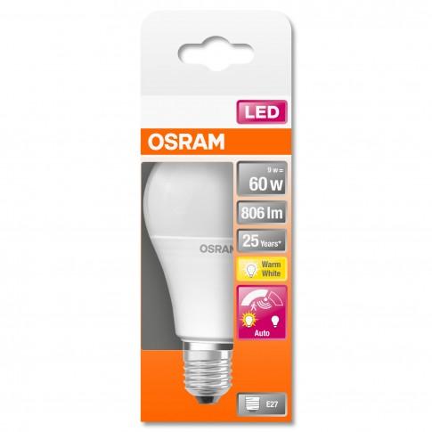 Bec LED Osram clasic mat A60 E27 9W 806lm lumina calda 2700 K, cu senzor miscare