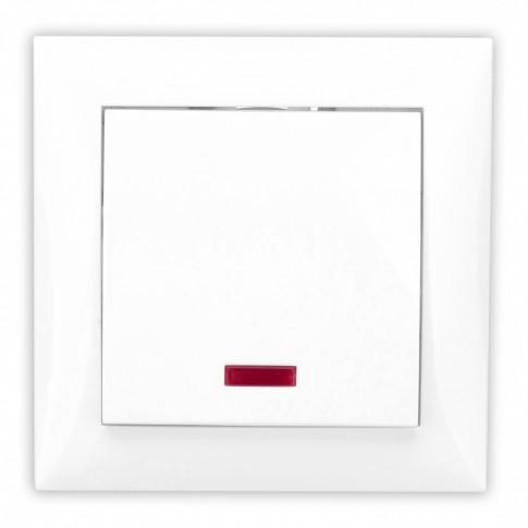 Intrerupator simplu cu indicator luminos Hoff, incastrat, rama inclusa, 10A, alb