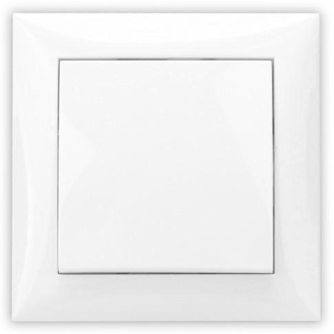 Intrerupator cap scara simplu Hoff, incastrat, rama inclusa, 10A, alb