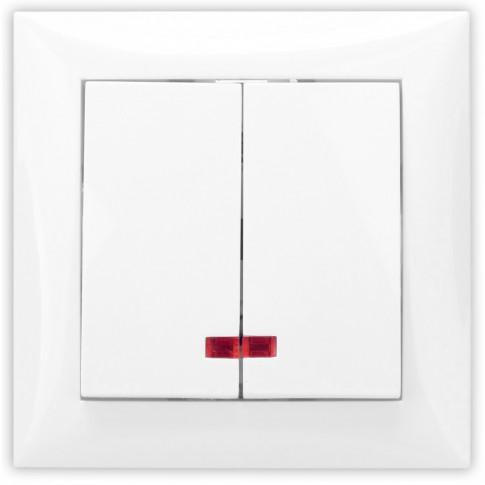 Intrerupator dublu cu indicator luminos Hoff, incastrat, rama inclusa, 10A, alb
