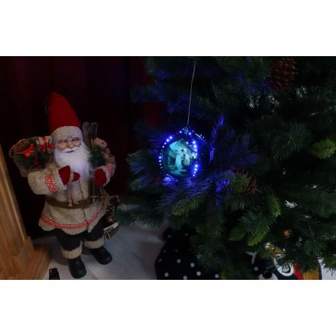 Glob decoratiune 76 LED-uri albastre, 15 cm, alimentare baterii, interior / exterior