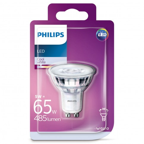 Bec LED Philips spot GU10 5W 485lm lumina neutra 4000 K