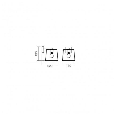 Aplica Sketch 01-1261, 1 x E27, negru + cupru