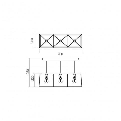 Suspensie Sketch 01-1266, 3 x E27, negru + cupru