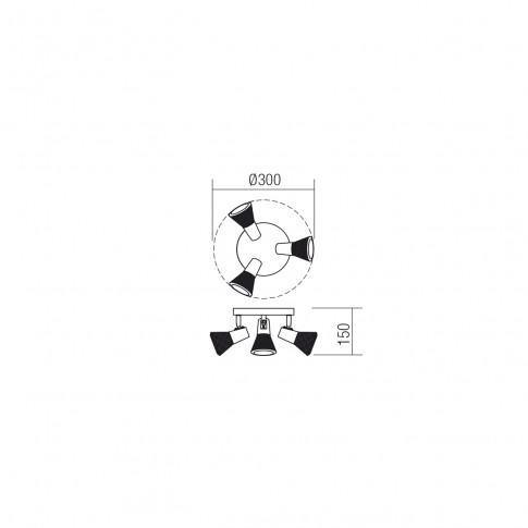 Plafoniera Ronin 04-458, 3 x E14, negru + cupru