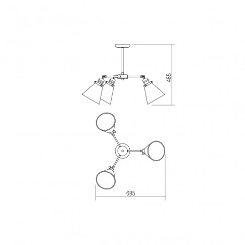 Lustra Huber 02-926, 3 x E27, negru + alama + ambra