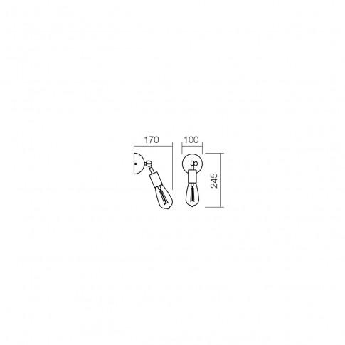 Aplica Spider 01-1258, 1 x E27, negru mat + cupru antichizat