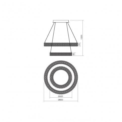 Suspensie LED Metis 01-1391, 40W + 24W, efect de cristal