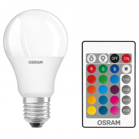 Bec LED color Osram clasic A60 E27 9W 806lm lumina calda / RGB 2700 K, dimabil + telecomanda