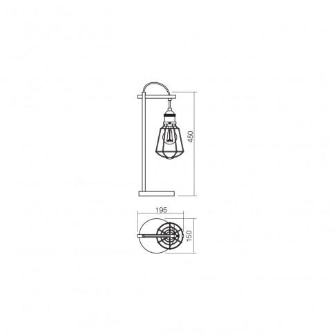 Veioza Tharu 01-1304, 1 x E27, negru mat + cupru antichizat