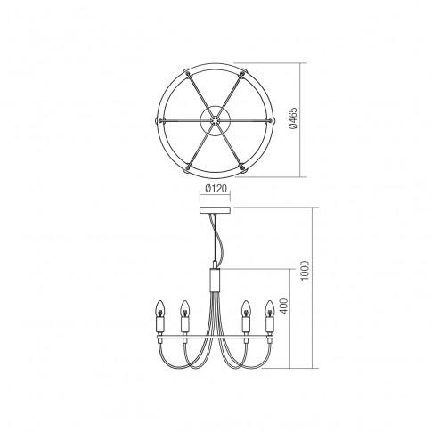 Lustra Handel 02-932, 6 x E14, cupru antichizat + negru mat