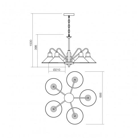 Lustra Verner 02-936, 5 x E27, maro mat