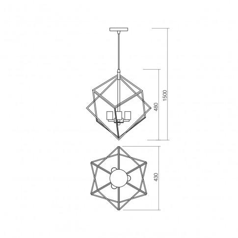 Suspensie Ewa 02-939, 3 x E27, cupru + negru