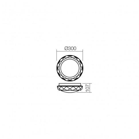 Plafoniera pentru baie Riba 01-1240, 2 x E27, IP44, D 300 mm, alba