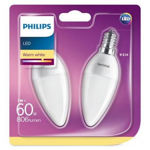 Bec LED Philips lumanare B38 E14 7W 806lm lumina calda 2700 K - 2 buc
