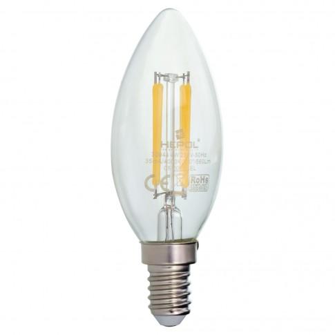 Bec LED filament Hepol lumanare E14 4W 560lm lumina neutra 4000 K