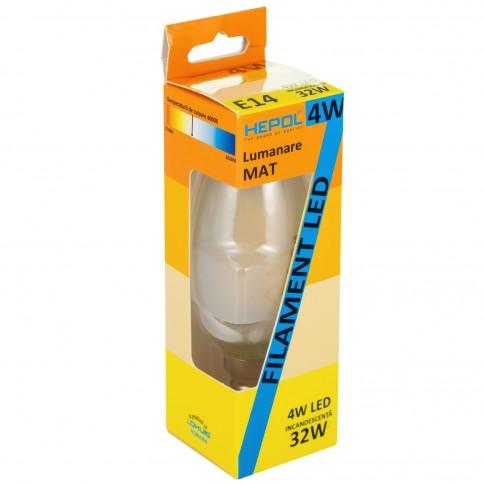 Bec LED filament Hepol lumanare E14 4W 490lm lumina neutra 4000 K, mat