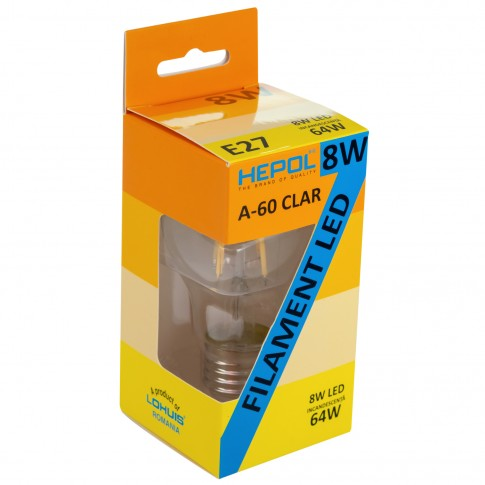 Bec LED filament Hepol clasic A60 E27 8W 1100lm lumina neutra 4000 K