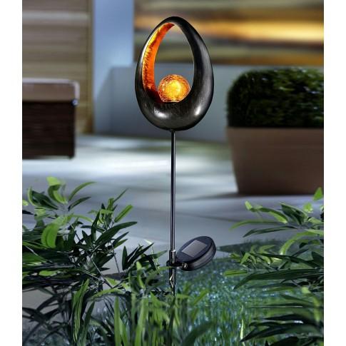 Lampa solara LED Hoff, cu decoratiune metalica, H 93 cm, diverse modele