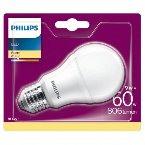 Bec LED Philips clasic A60M E27 9W 806lm lumina calda 2700 K