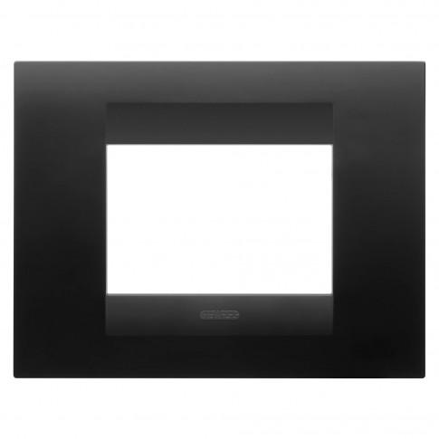 Rama Gewiss Chorus Geo GW16403VN, 3 module, negru - satin, pentru priza / intrerupator