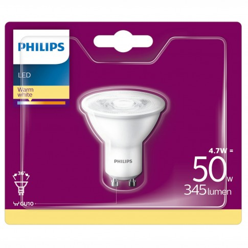Bec LED Philips spot GU10 4.7W 345lm lumina calda 2700 K