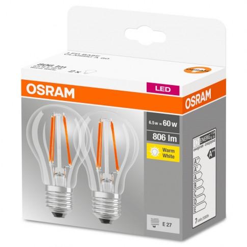 Bec LED filament Osram clasic A60 E27 7W 806lm lumina calda 2700 K - 2 buc