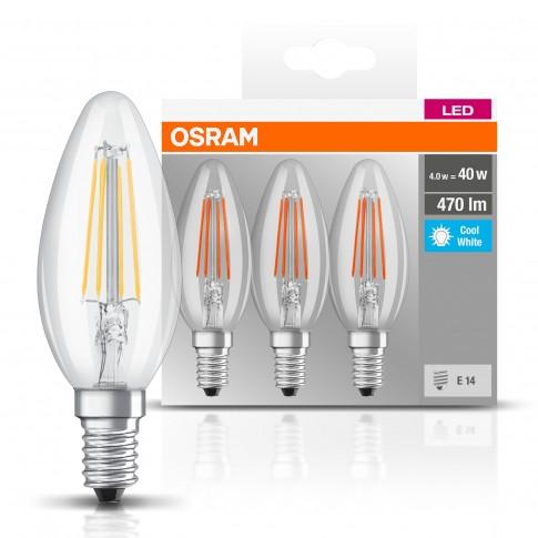 Bec LED filament Osram lumanare B40 E14 4W 470lm lumina neutra 4000 K - 3 buc