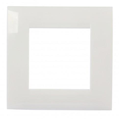 Rama Hoff, 2 module, alba, 80 x 78 x 7 mm, pentru priza / intrerupator