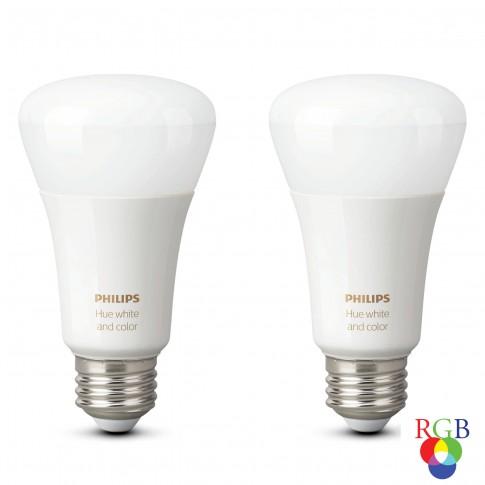 Bec inteligent LED color Philips Hue clasic A19 E27 9W 806lm lumina RGB, Wi-Fi, Bluetooth, dimabil, set 2 buc