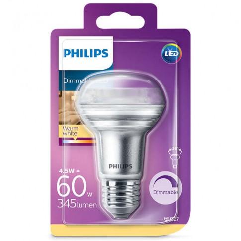 Bec LED Philips spot R63 E27 4.5W 345lm lumina calda 2700 K, dimabil