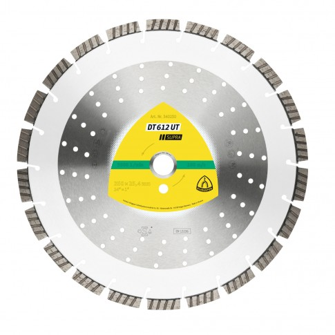 Disc diamantat, cu segmente, pentru debitare materiale de constructii, Klingspor DT 612 UT Supra, 350 x 25.4 mm