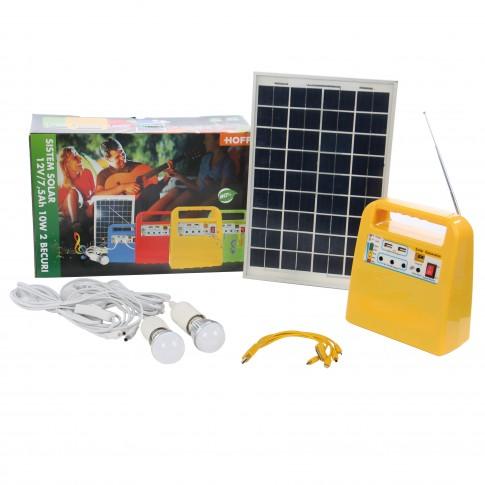 Sistem solar Hoff, 12V / 7.5Ah, 10W, 2 becuri LED x 3W, radio FM, 2 x USB