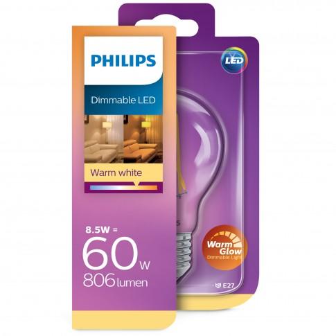 Bec LED filament Philips clasic A60 E27 8.5W 806lm lumina calda 2200-2700 K, dimabil