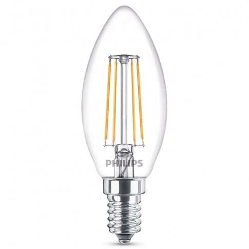 Bec LED filament Philips lumanare B35 E14 4.3W 470lm lumina calda 2700 K
