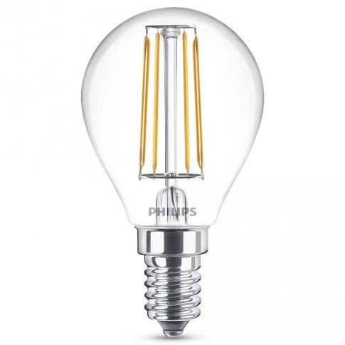 Bec LED filament Philips mini P45 E14 4.3W 470lm lumina calda 2700 K