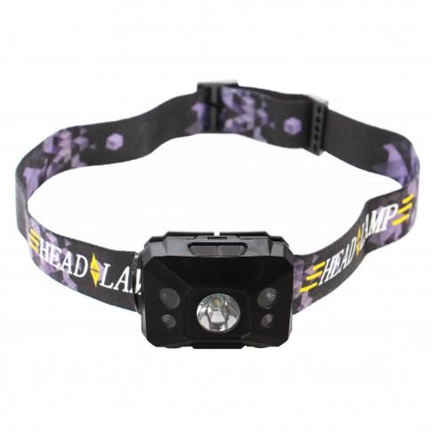 Lanterna LED frontala Hoff, cu senzor, acumulator, 3W lumina alba + 0.1W lumina rosie, 3 moduri de iluminare