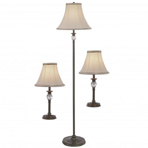 Lampadar 1500 mm + 2 veioze, set Viper LY-4026, E27, maro + bej