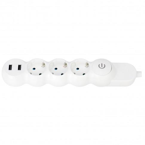 Prelungitor Hoff Line 3 prize, 3 m, 3500W, 2 x USB 2.4A, contact de protectie, intrerupator