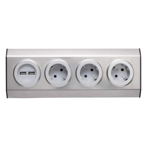 Bloc mobila, 3 prize + 2 USB, Smart Home 03/USB, contact de protectie, otel inoxidabil, gri
