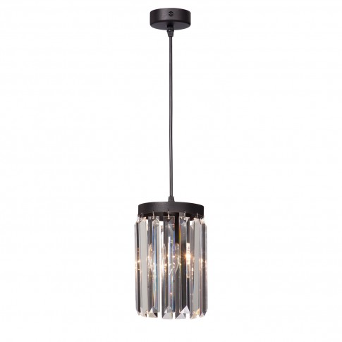 Suspensie Crystal VE5151-1/1S, 1 x E14, neagra + transparent