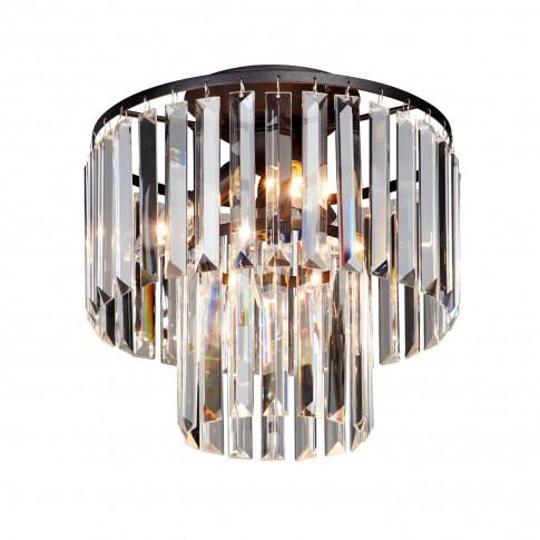 Plafoniera Crystal VE5151-1/4PL, 4 x E14, neagra + decoratiuni din sticla