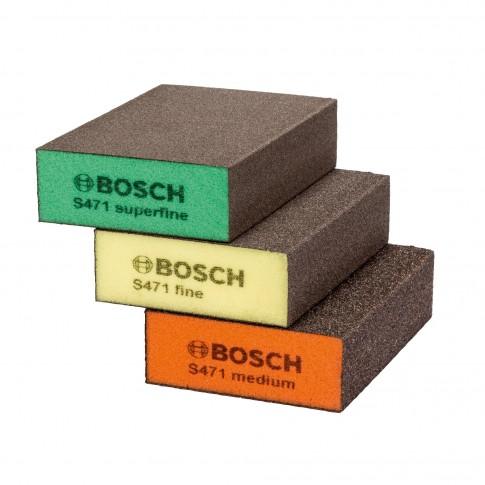 Burete abraziv, pentru slefuire vopsea / lemn / metale, Bosch 2608621253, 69 x 97 x 26 mm, set 3 bucati